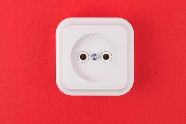 White socket on red