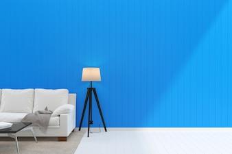 White sofa blue pastel wall white wood floor background texture sun shine lamp