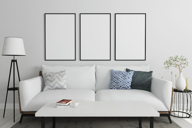 White sofa empty frame living room