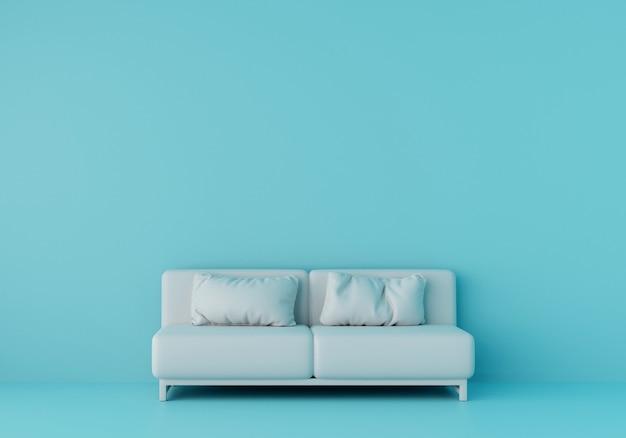 水色の部屋に白いソファ。 3dレンダリング。