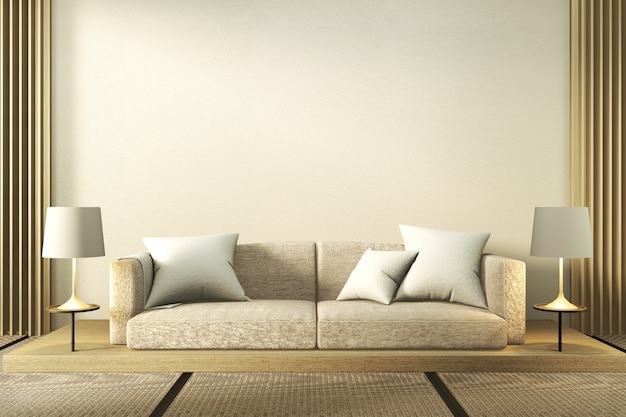 White sofa and lamps in minimalist living room