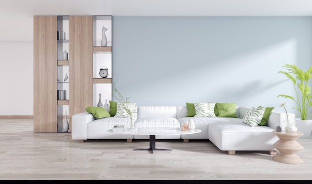 White sofa with metal shelf on blue wall and wooden floor in living room interior