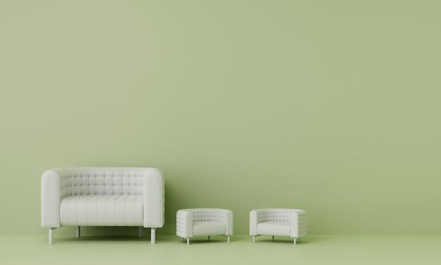 リビングルームに2つの小さなソファのある白いソファには、緑の壁があります。 3dレンダリング。
