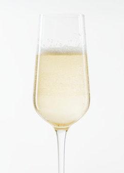 White sparkling wine in a glass closeup