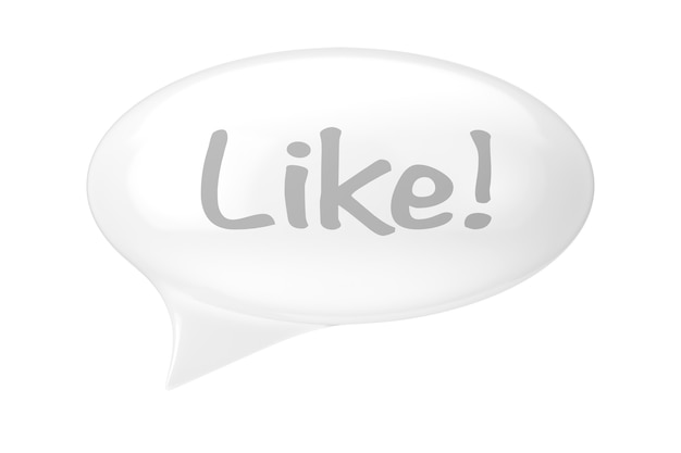 White speech bubble with like sign on a white background. 3d rendering