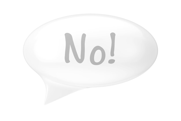 White speech bubble with no sign on a white background. 3d rendering
