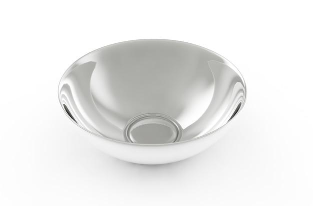 白い背景の上の白い球皿プレート側面図。分離された3dレンダリング