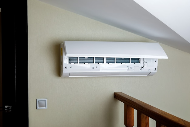 White split air conditioner on a wall. closeup image