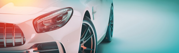 White sports car. 3d render. illstration.
