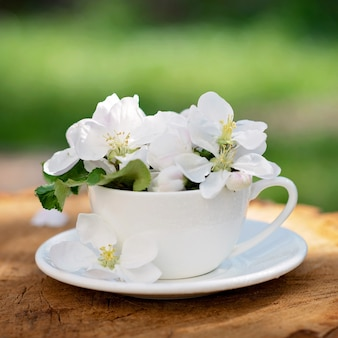 White spring apple blooming flowers in a coffee cup on a natural wooden background. spring summer concept.