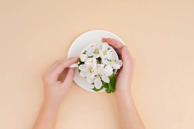 White spring apple trees blooming flowers in a coffee cup in female elegant hands on a beige background. spring summer concept. flat lay.