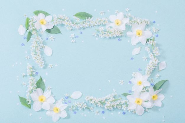 White spring flowers on blue wall