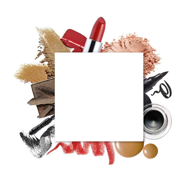 White square copy space on set of beauty products  flat laytop view