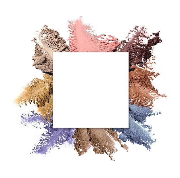 White square copy space on set of crushed eyeshadow