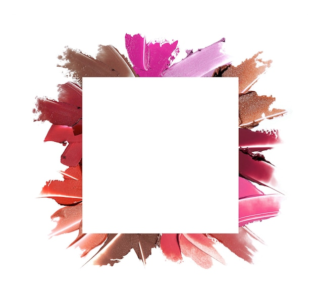 White square copy space on set of lipstick smears  flat laytop view