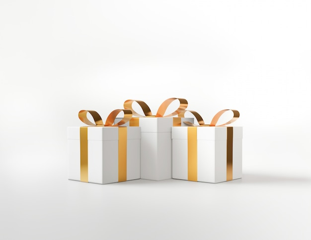 White square gift box and metallic golden bow-ribbon concept