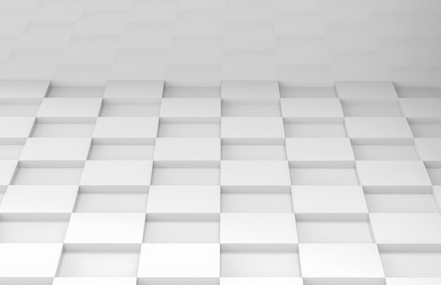 White square grid tile floor corner room wall