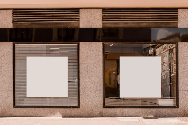 White square shape placard on the window