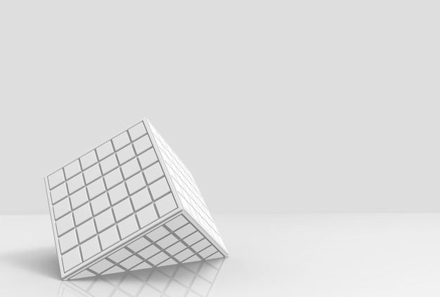 White square tiles pattern cube box fall down on gray copy space background