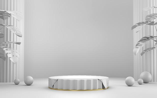 광고 제품 디스플레이 배경 3d 렌더링을위한 흰색 무대 플랫폼 연단