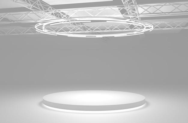 조명이 있는 흰색 무대 연단입니다. 둥근 받침대, 바닥에 빛나는 빈 플랫폼. 3d 그림