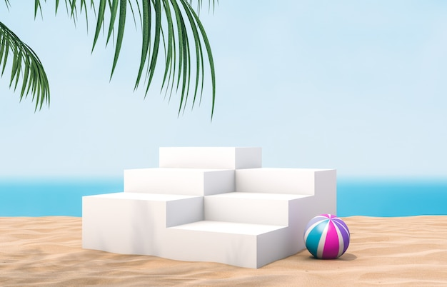 White stair podium with summer beach wall for product display.