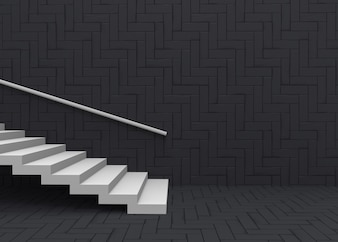 White staircase on dark square pattern wall and floor background