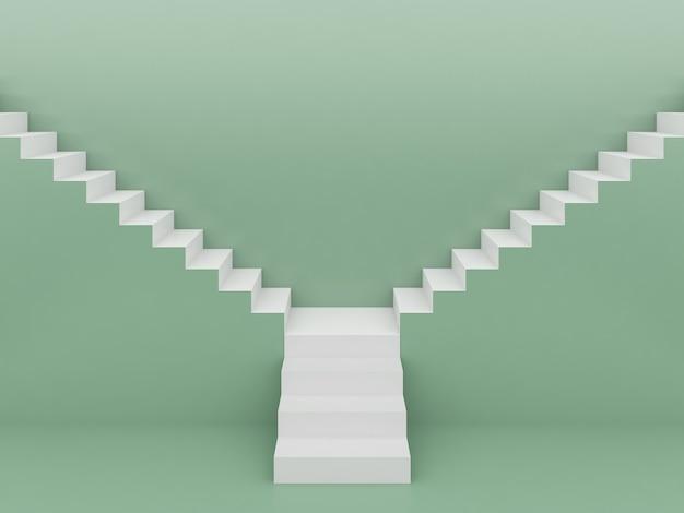 Белая лестница на зеленом фоне. 3d визуализация