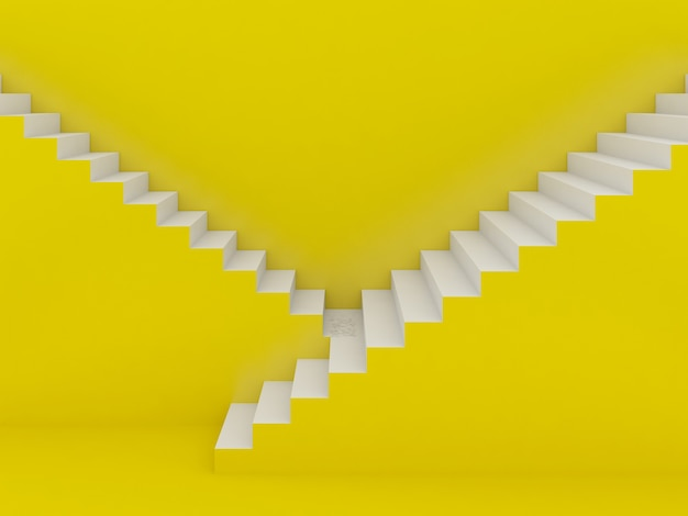 Белая лестница на желтом фоне, 3d-рендеринг