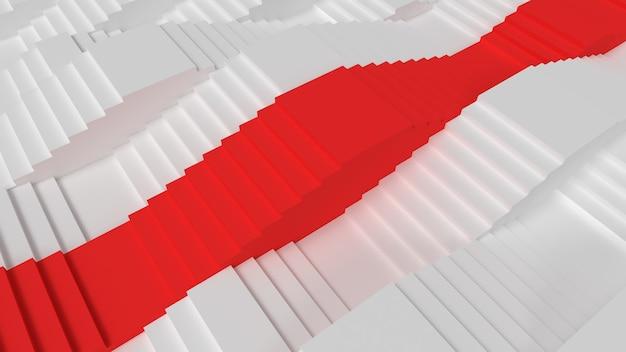Белые лестницы уровни абстрактные 3d визуализации иллюстрации с красными шагами к успеху