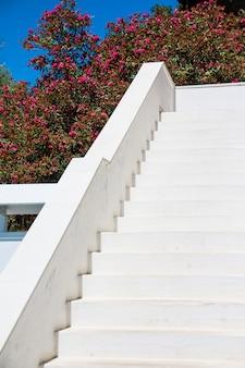 화창한 날에 외부 흰색 계단