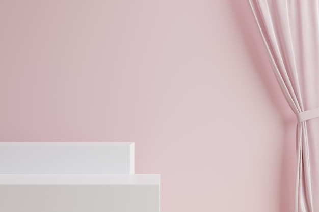 White stairs with pink curtain and pink wall