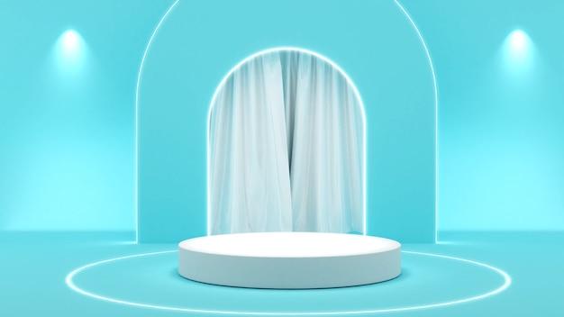 水色の背景に白いスタンド、製品プレゼンテーション用のモックアップ表彰台、3dレンダリング