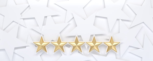 White starry background with five stars rating.