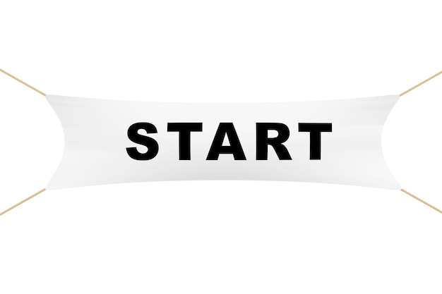 White start banner with ropes on a white background. 3d rendering.