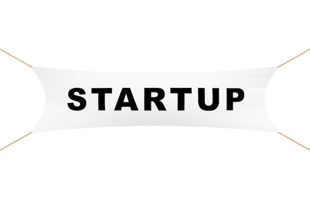 White startup banner with ropes on a white background. 3d rendering.