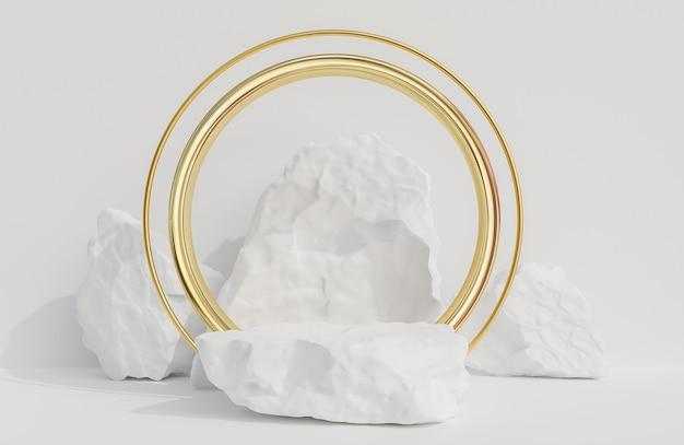 製品のプレゼンテーションと白い壁の背景に金色のアーチのための白い石の表彰台