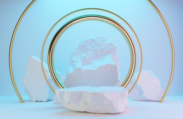 製品プレゼンテーション用の白い石の表彰台と白い壁の金色のアーチ