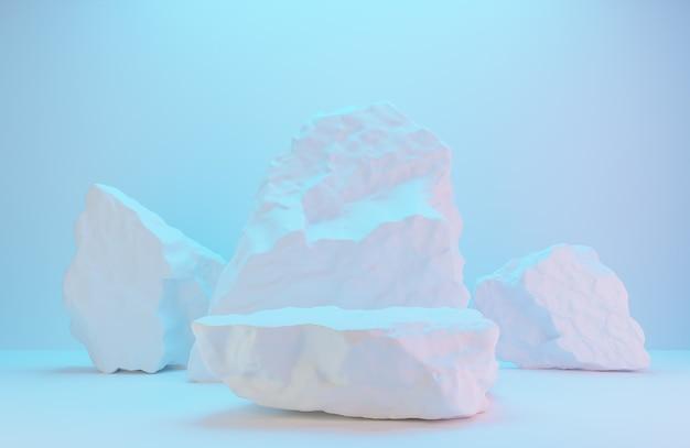 白い壁に製品を提示するための白い石の表彰台