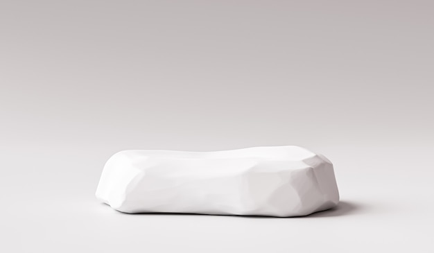 White stone product background stand or rock podium pedestal on promotional display with blank backdrops. .