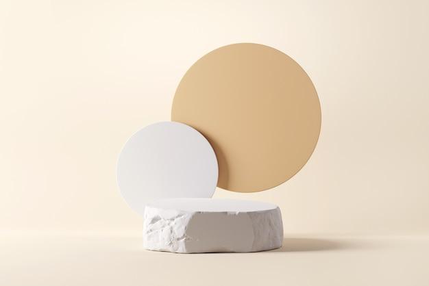 원이 있는 흰색 돌 거친 접시 개체 디스플레이 연단