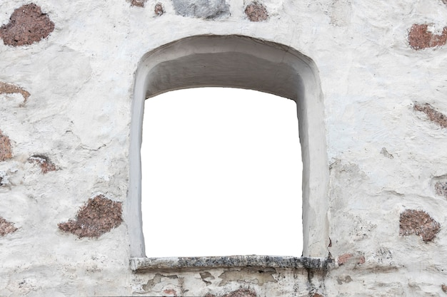 White stone wall with a hole in the middle. isolated on white background. window in the wall. high quality photo