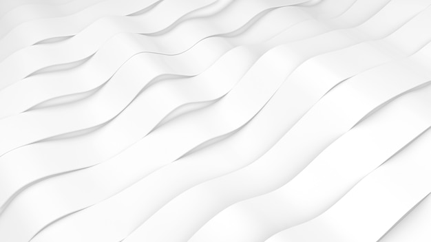 White stripes waves surface. deformed bands surface with soft light. modern bright background