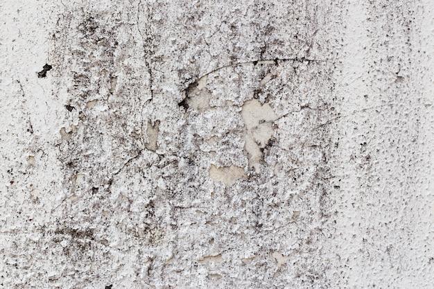 Белая лепная стена с падением краски и черными пятнами плесени и грибов