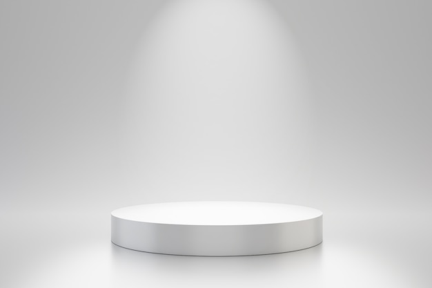 스포트 라이트 제품 선반과 간단한 벽에 흰색 스튜디오 템플릿 및 원형 받침대. 광고를위한 빈 스튜디오 연단. 3d 렌더링.
