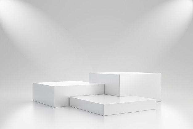 White studio template and cube pedestal on simple wall with spotlight product shelf. blank studio podium for advertising. 3d rendering.