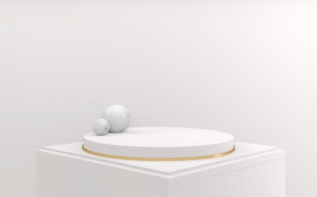 Белый подиум круг дизайн минимальный. 3d визуализация
