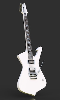 White stylish electric guitar on black