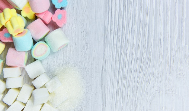 White sugar and colorful candy sweet no sugar in diet causes obesity diabetes