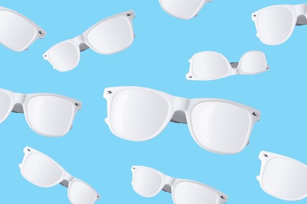 Шаблон белые солнцезащитные очки, изолированные на пастельно-синем фоне